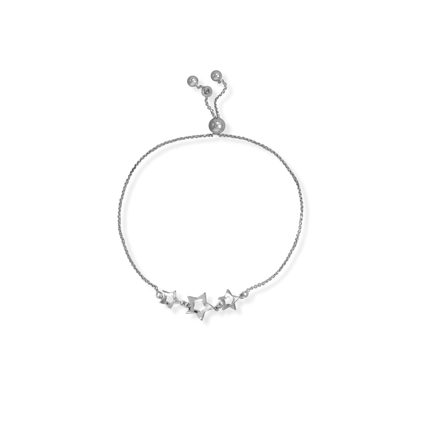 Adjustable Rhodium Plated 3 Star Bolo Bracelet