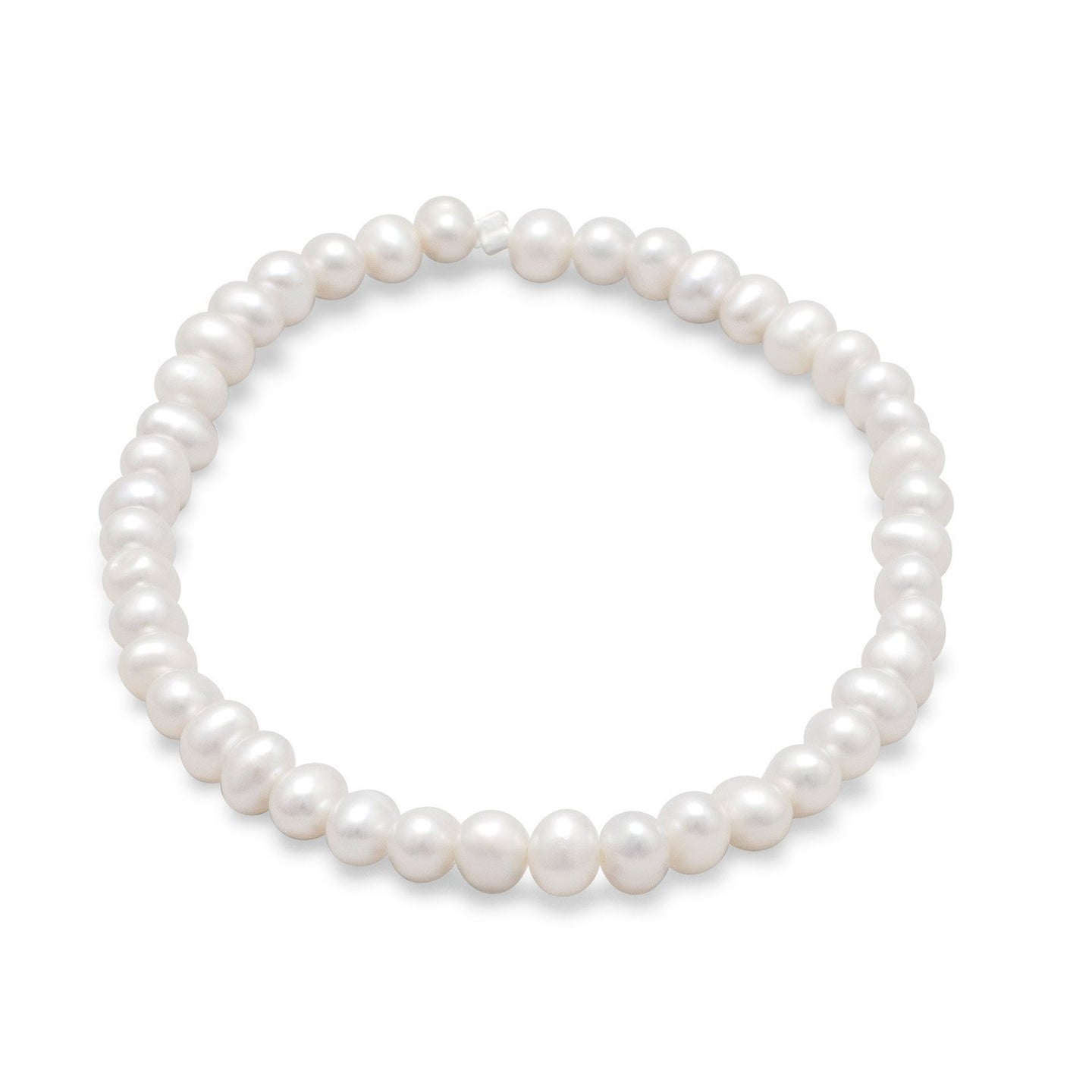 White Cultured Freshwater Pearl Stretch Bracelet 4-5mm at 3 Barn Swallows, $35