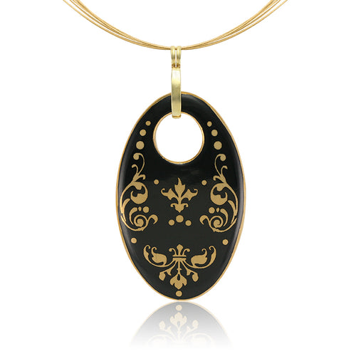 Baroque Black and Gold Fine Porcelain Oval Necklace at 3 Barn Swallows, $200