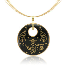 Load image into Gallery viewer, Baroque Black and Gold Fine Porcelain Round Pendant Necklace at 3 Barn Swallows, $200