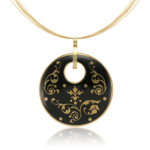 Baroque Black and Gold Fine Porcelain Round Pendant Necklace at 3 Barn Swallows, $200