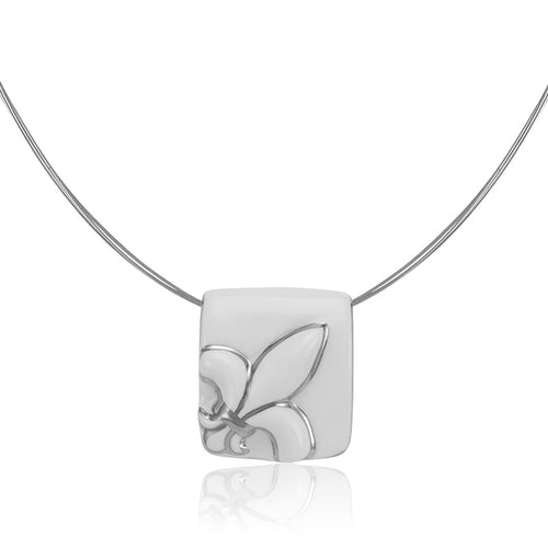 King Lily White and Platinum Fine Porcelain Pendant Necklace at 3 Barn Swallows, $162