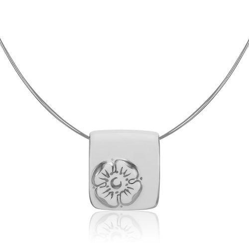 Forget-me-not White and Platinum Fine Porcelain Pendant Necklace at 3 Barn Swallows, $162