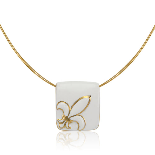 King Lily White and Gold Fine Porcelain Pendant Necklace at 3 Barn Swallows, $162