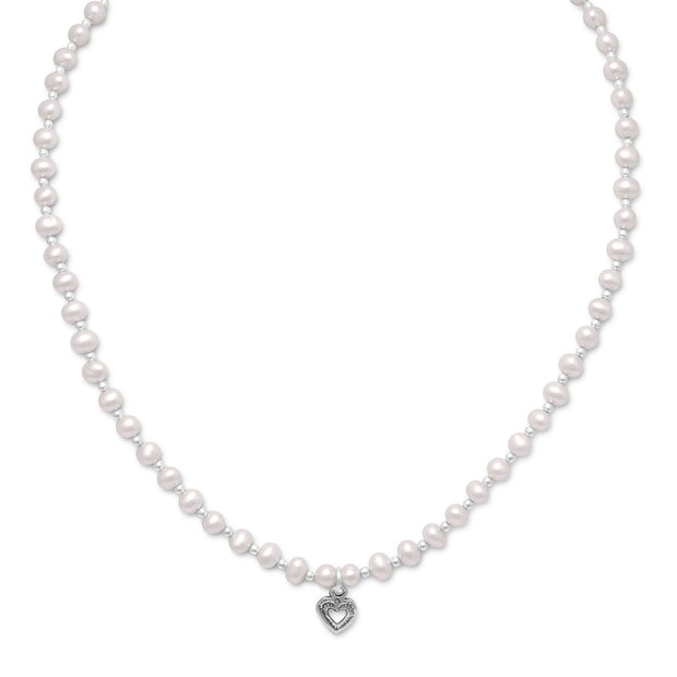 "13""+2"" Extension Cultured Freshwater Pearl/Silver Bead Necklace with Oxidized Heart"