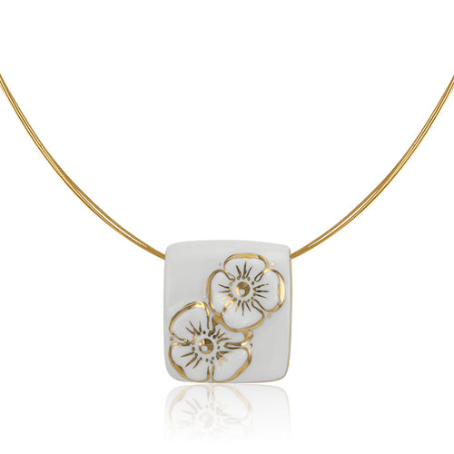 Forget-me-not White and Gold Fine Porcelain Pendant Necklace at 3 Barn Swallows, $162