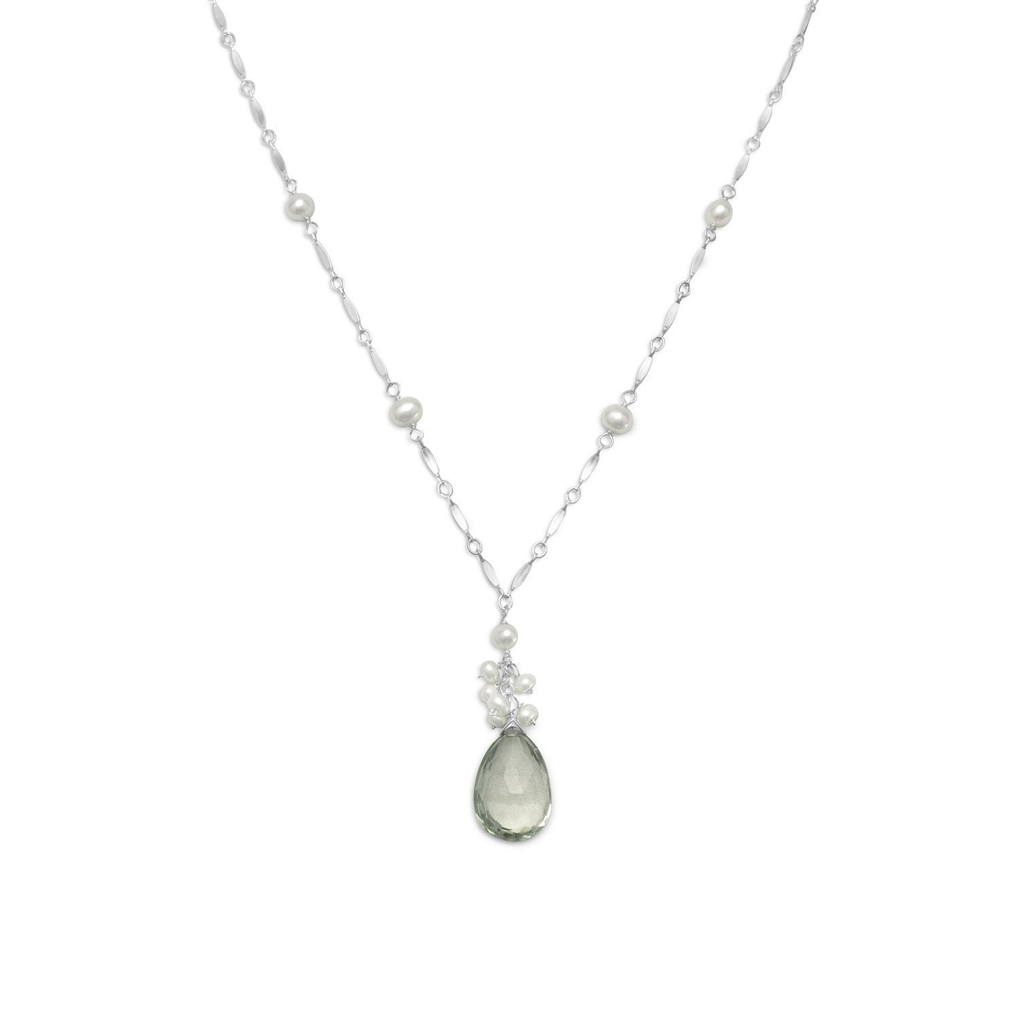 Prasiolite and Cultured Freshwater Pearl Necklace at 3 Barn Swallows, $107