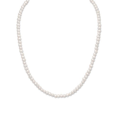 White Cultured Freshwater Pearl Necklace 15 inch at 3 Barn Swallows, $71