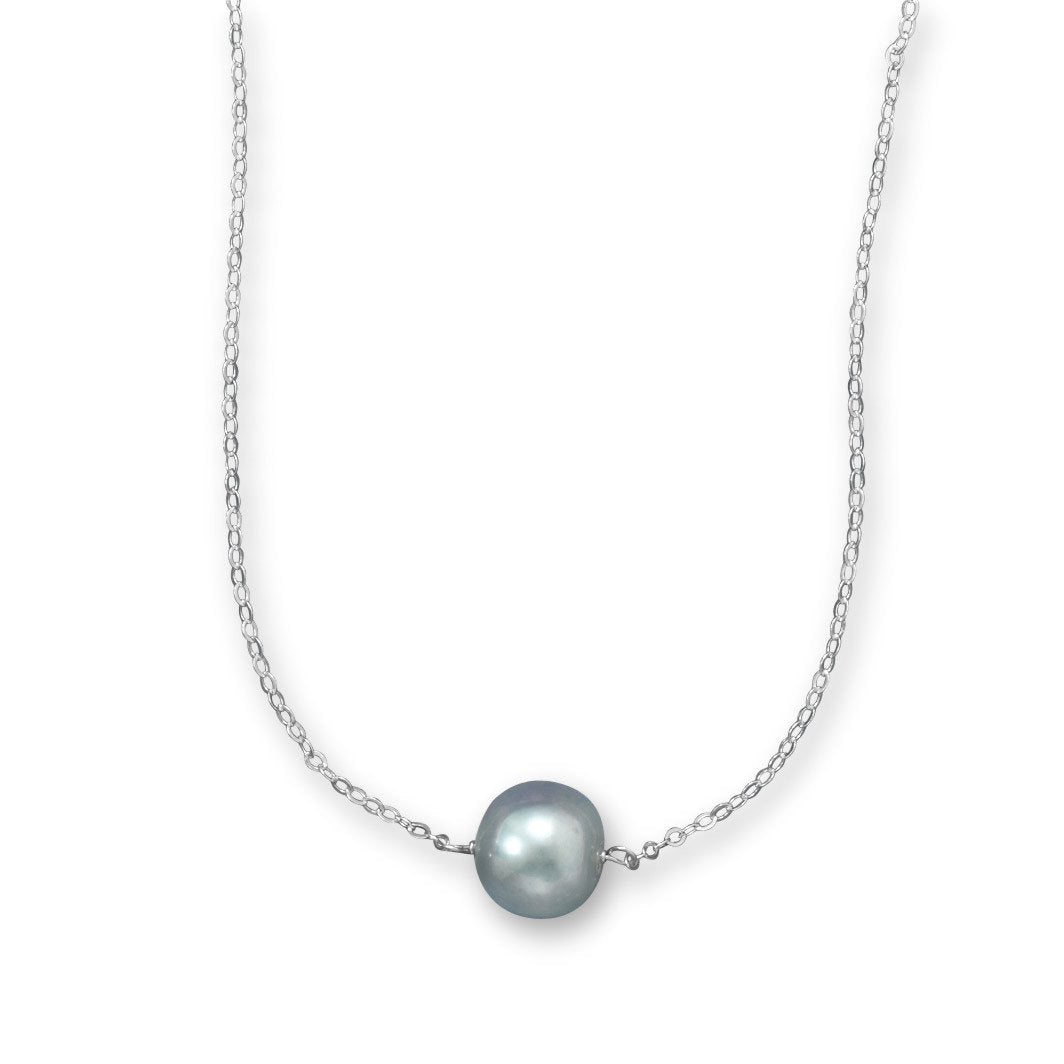 "16"" + 2"" Silver Cultured Freshwater Pearl Necklace"