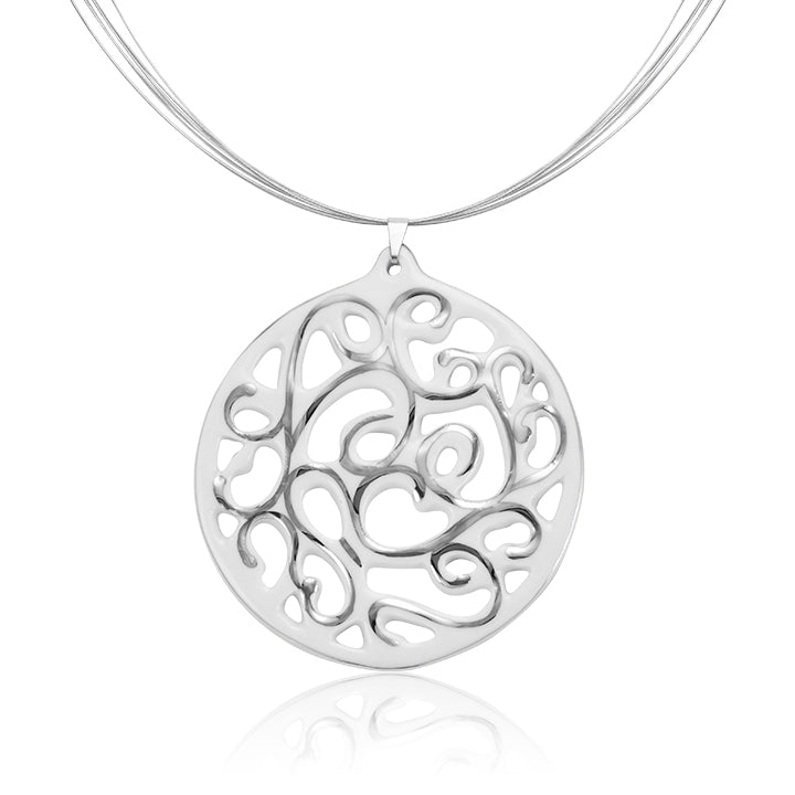 Aero White and Platinum Fine Porcelain Pendant Necklace 60mm at 3 Barn Swallows, $176