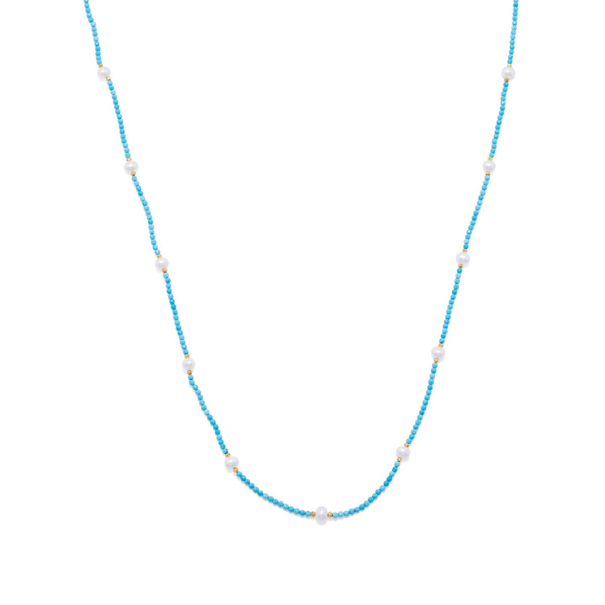 Endless Design Turquoise Magnesite and Cultured Freshwater Pearl Necklace