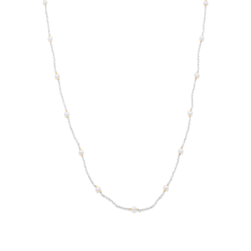 Endless Design Pyrite and Cultured Freshwater Pearl Necklace