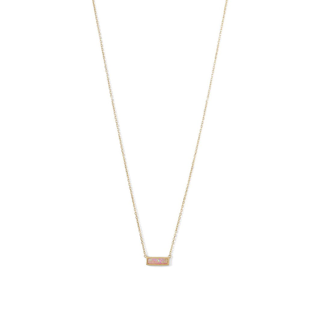 14 Karat Gold Plated Mini Synthetic Pink Opal Bar Necklace at 3 Barn Swallows, $57