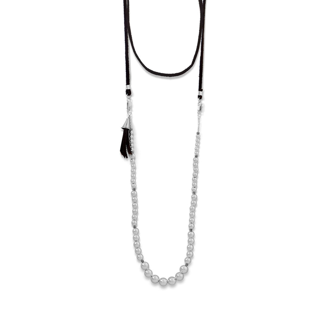 4-Way Suede and Silver Bead Necklace at 3 Barn Swallows, $167