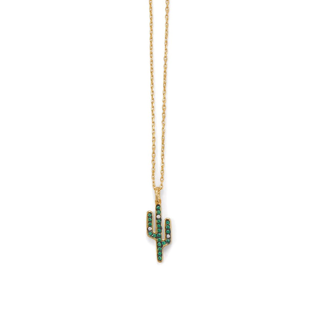 14 Karat Gold Plated CZ Saguaro Cactus Charm Necklace at 3 Barn Swallows, $44