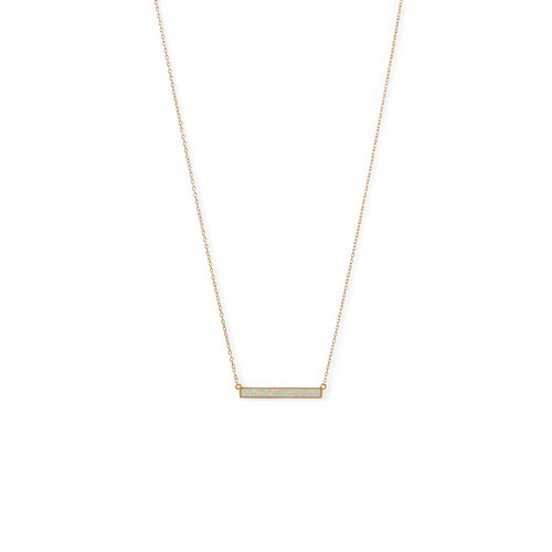 14 Karat Gold Plated Synthetic White Opal Bar Necklace at 3 Barn Swallows, $57