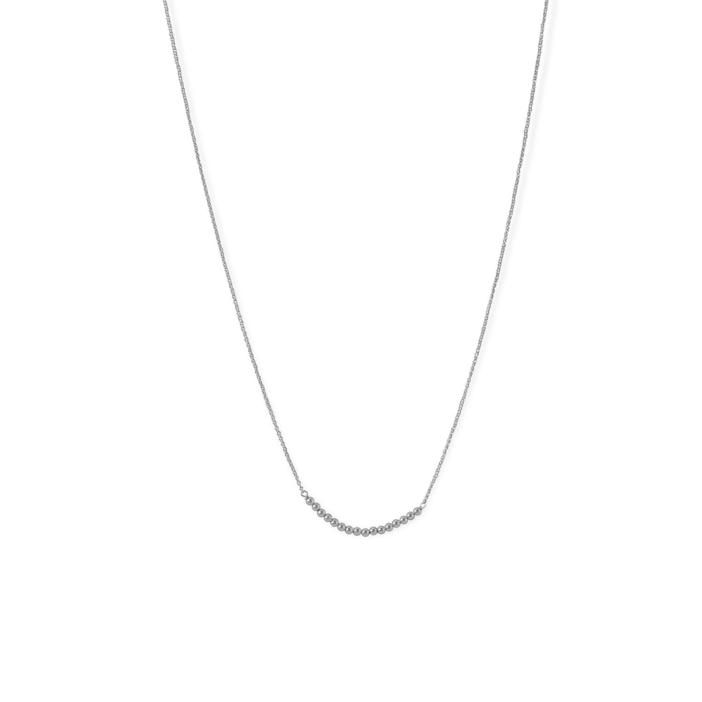 Rhodium Plated 2mm Bead Bar Necklace at 3 Barn Swallows, $47