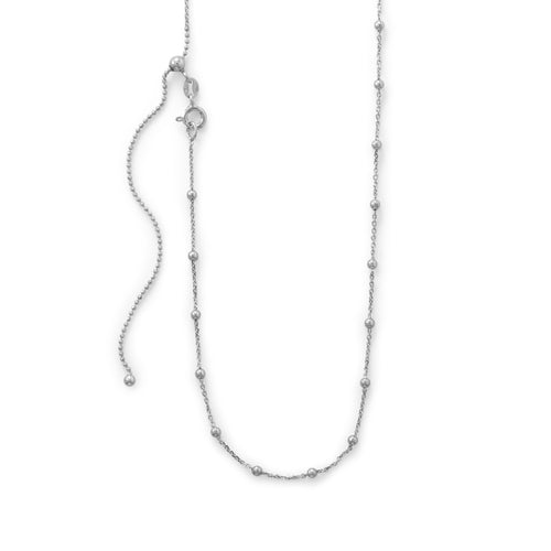 Adjustable Rhodium Plated Satellite Chain at 3 Barn Swallows, $42