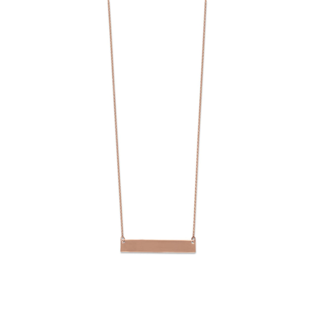 14 Karat Rose Gold Engravable Bar Necklace at 3 Barn Swallows, $47
