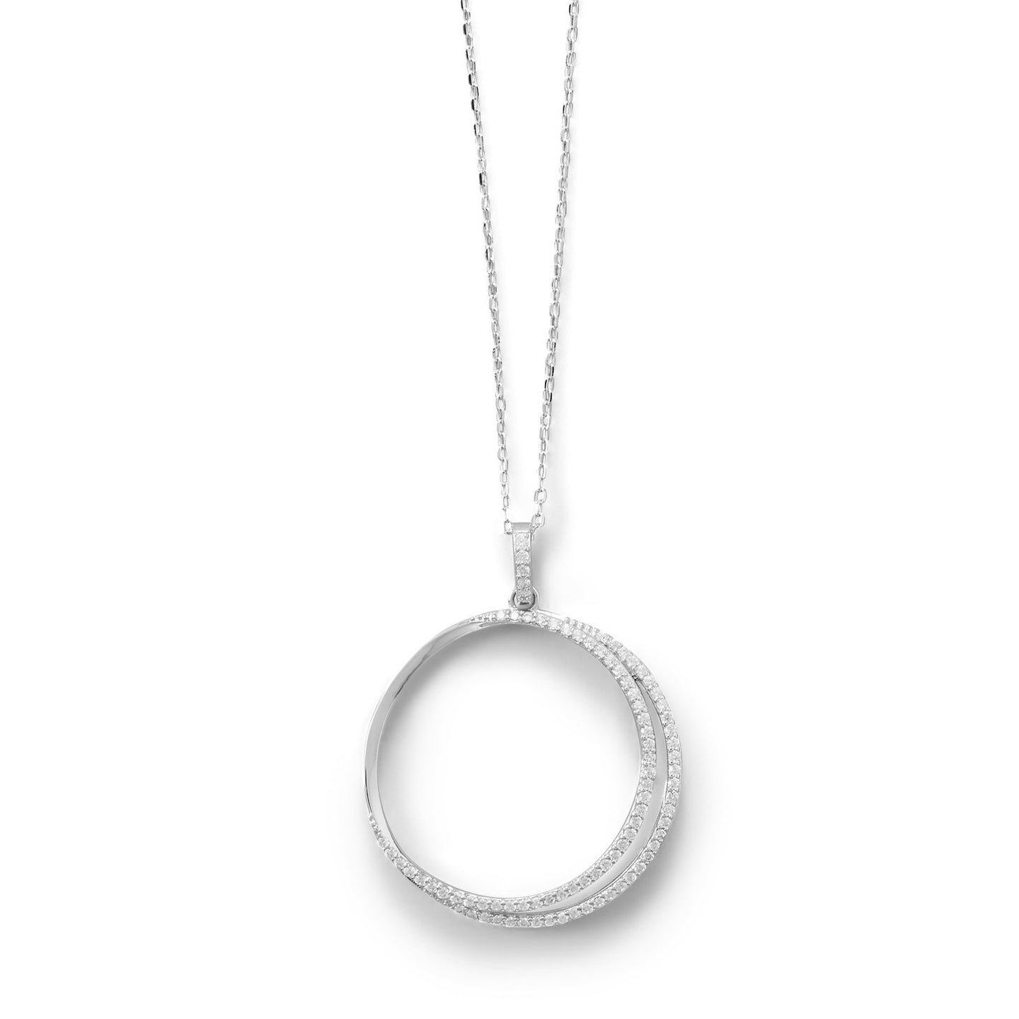 Eclipse Rhodium Plated CZ Necklace at 3 Barn Swallows, $62