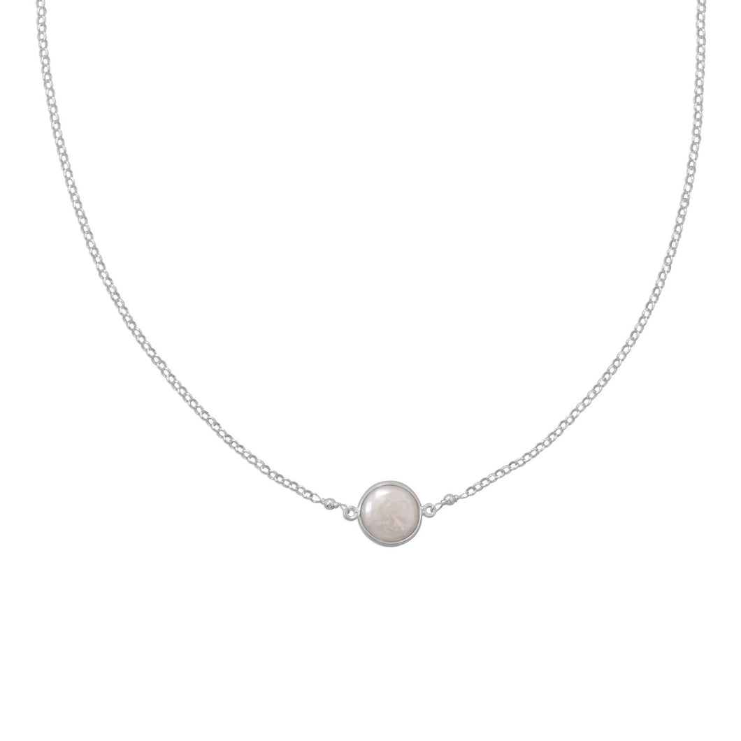 Sweet Simplicity! Cultured Freshwater Coin Pearl Necklace