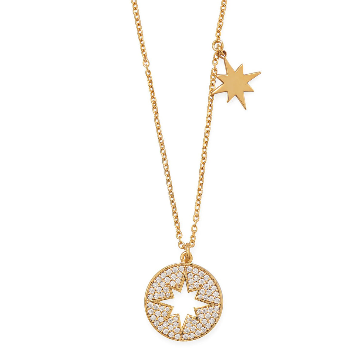 "16"" 14 Karat Gold Plated CZ Cut Out Starburst Necklace"