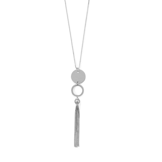 "32""+2 Disk and Circle Long Tassel Necklace"