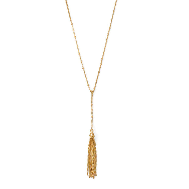 "18""+2 14 Karat Gold Plated Tassel Necklace"