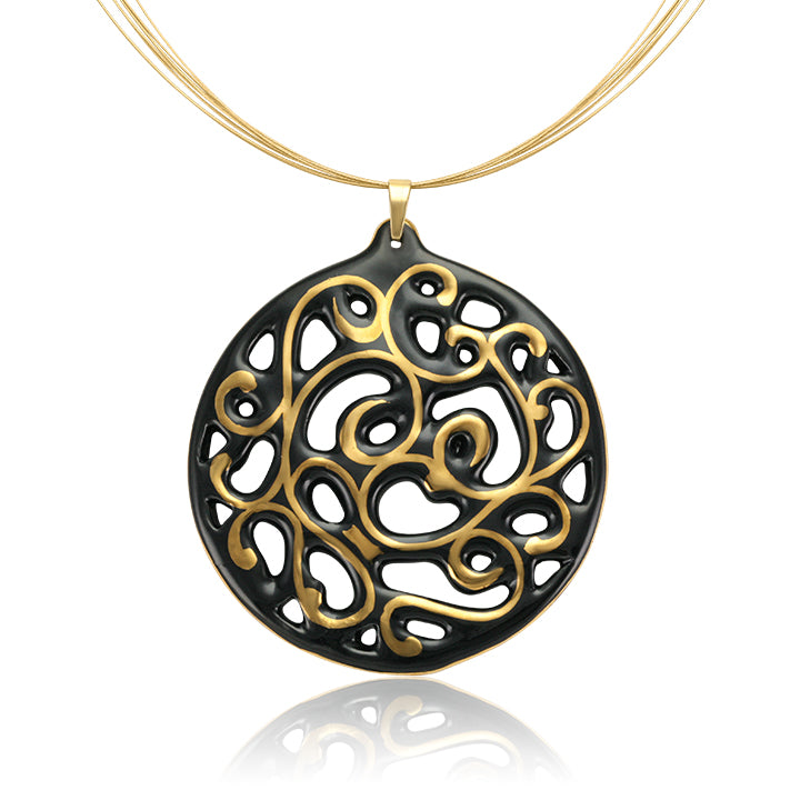Aero Black and Gold Fine Porcelain Pendant Necklace 60mm by SAZIBE Porcelain