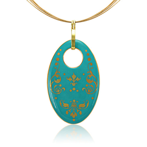 Baroque Mint-Green and Gold Fine Porcelain Oval Necklace at 3 Barn Swallows, $200