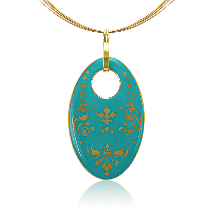 Baroque Mint-Green and Gold Fine Porcelain Oval Necklace