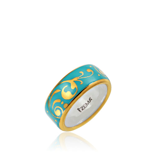 Baroque Mint-Green and Gold Fine Porcelain Ring at 3 Barn Swallows, $82
