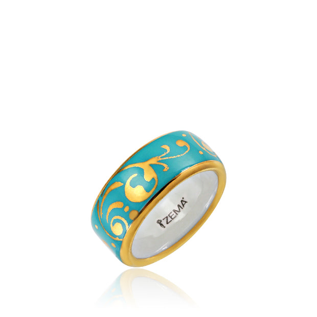 Baroque Mint-Green and Gold Fine Porcelain Ring by SAZIBE Porcelain