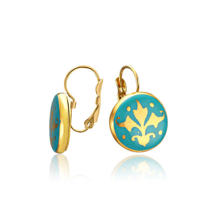 Baroque Mint-Green and Gold Fine Porcelain Earring by SAZIBE Porcelain