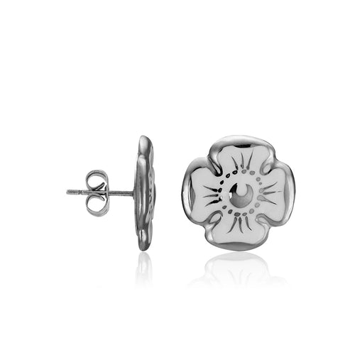 Forget-me-not White and Platinum Fine Porcelain Stud Earring at 3 Barn Swallows, $102