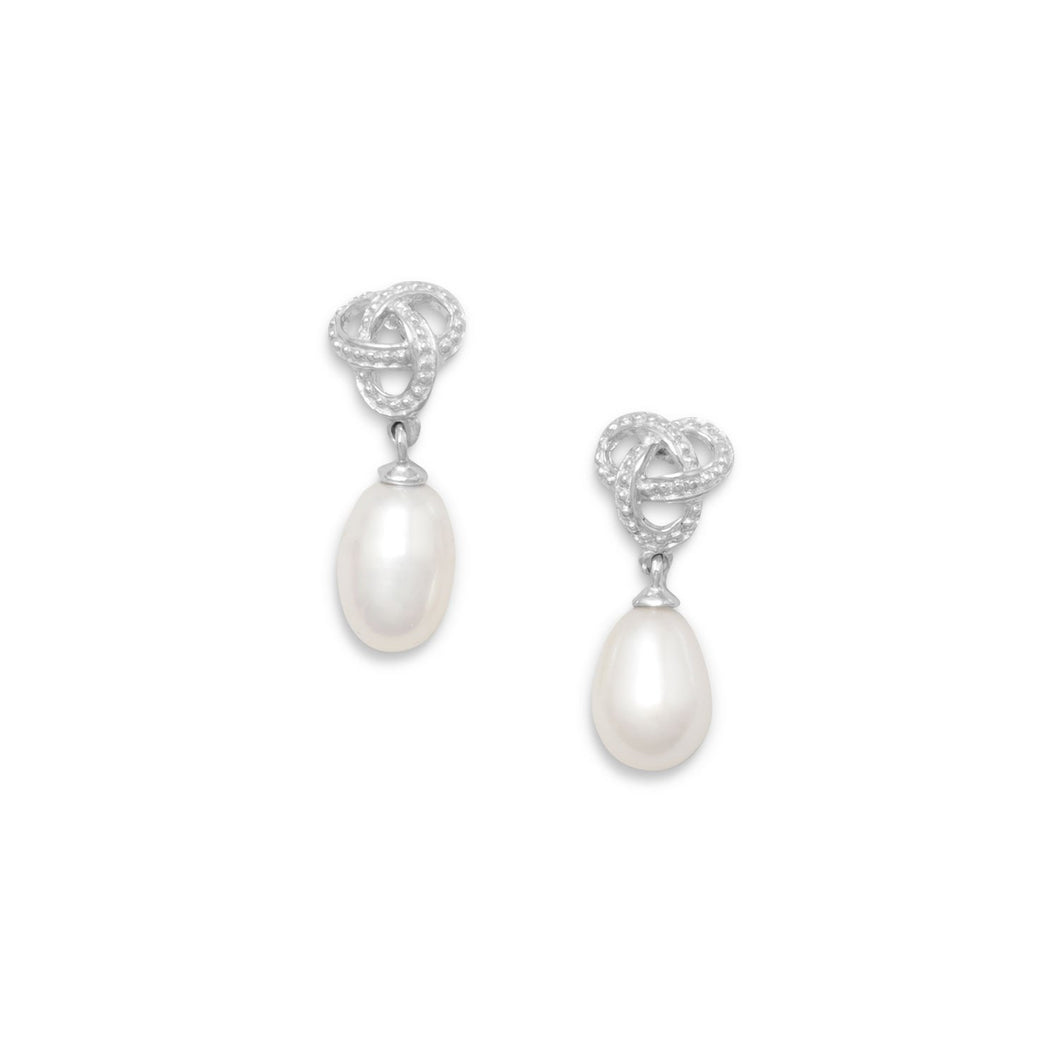 Rhodium Plated Love Knot Earrings with Cultured Freshwater Pearl Drop