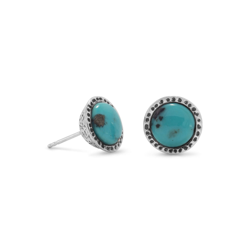 Oxidized Stabilized Turquoise Stud Earrings at 3 Barn Swallows, $54