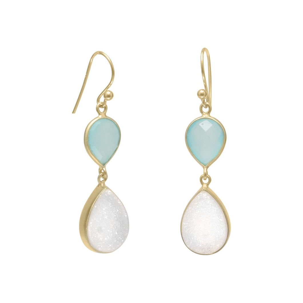 14K Gold Plated Earrings with Green Chalcedony and Druzy at 3 Barn Swallows, $71