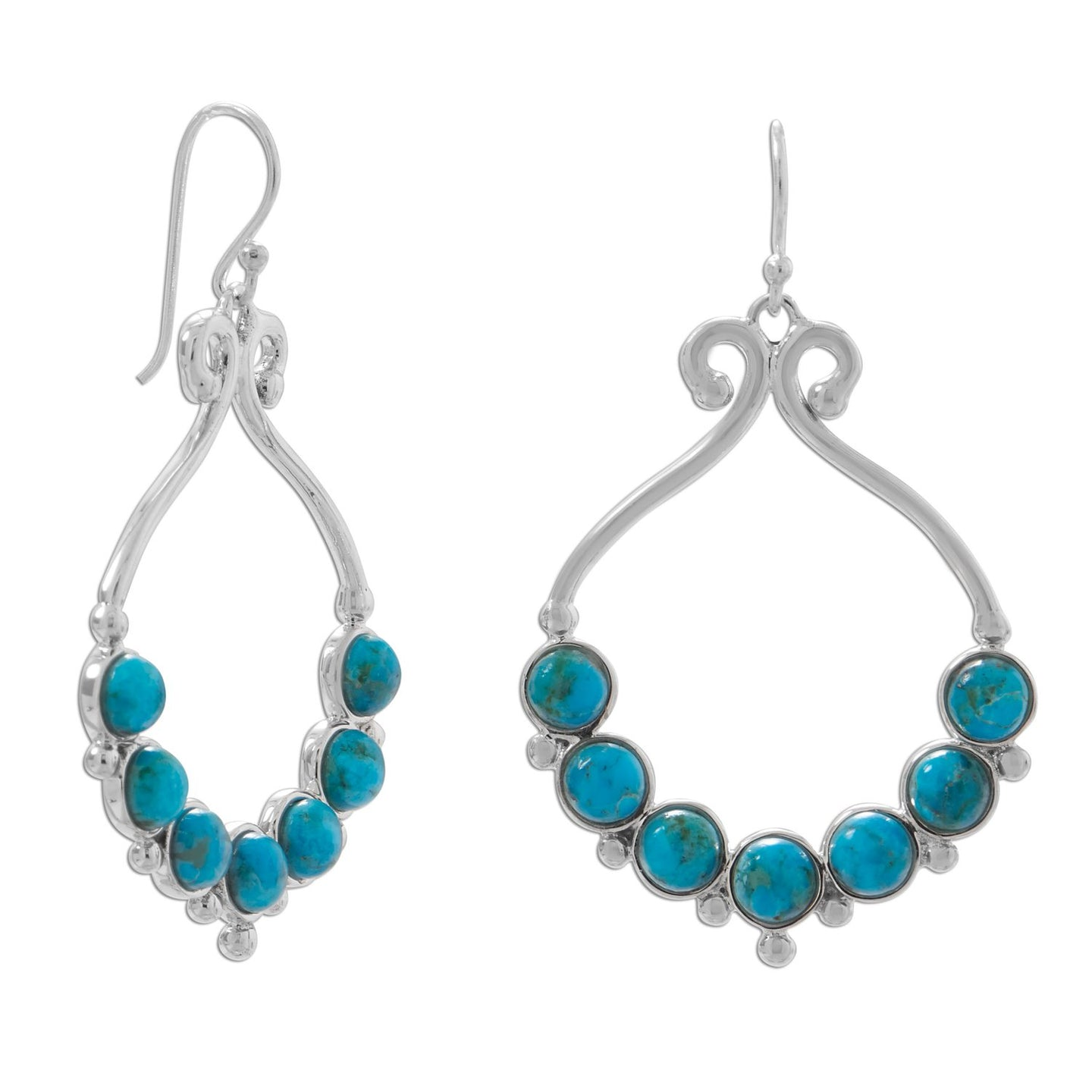 Polished Reconstituted Turquoise Outline and Bead Design French Wire Earrings at 3 Barn Swallows, $143