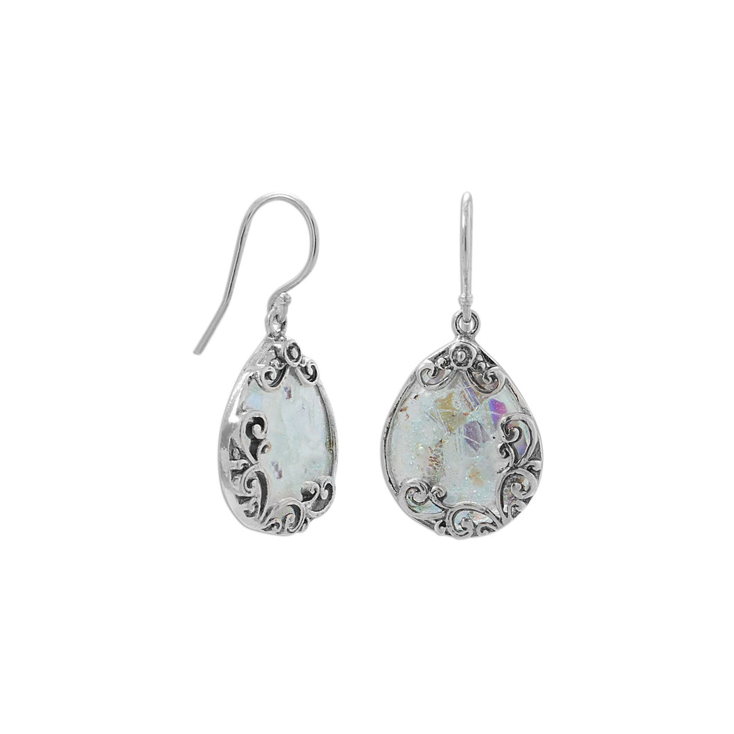 Oxidized Filigree Design Pear Ancient Roman Glass French Wire Earrings