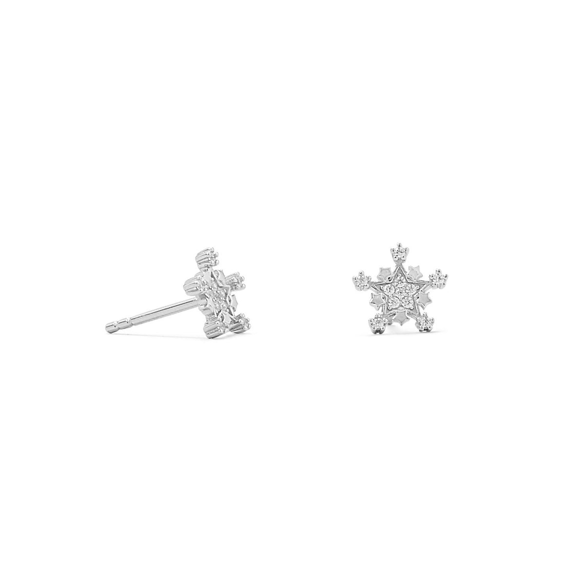 Rhodium Plated Tiny Snowflake CZ Stud Earrings