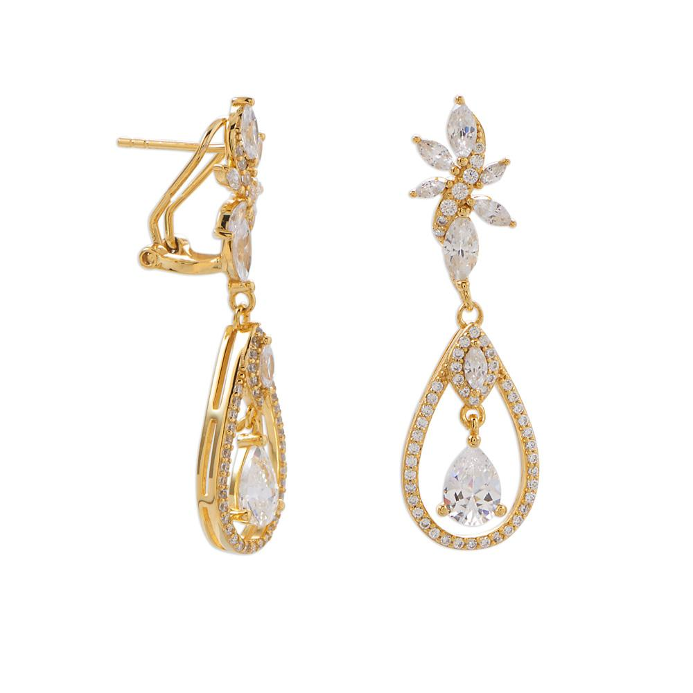 14 Karat Gold Plated CZ Cluster Dangle Earrings