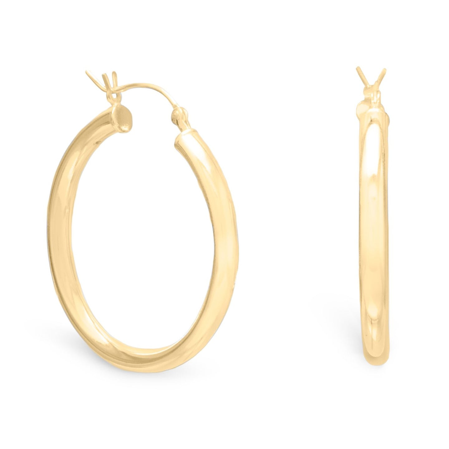 3mm x 35mm Gold Plated Click Hoop at 3 Barn Swallows, $43