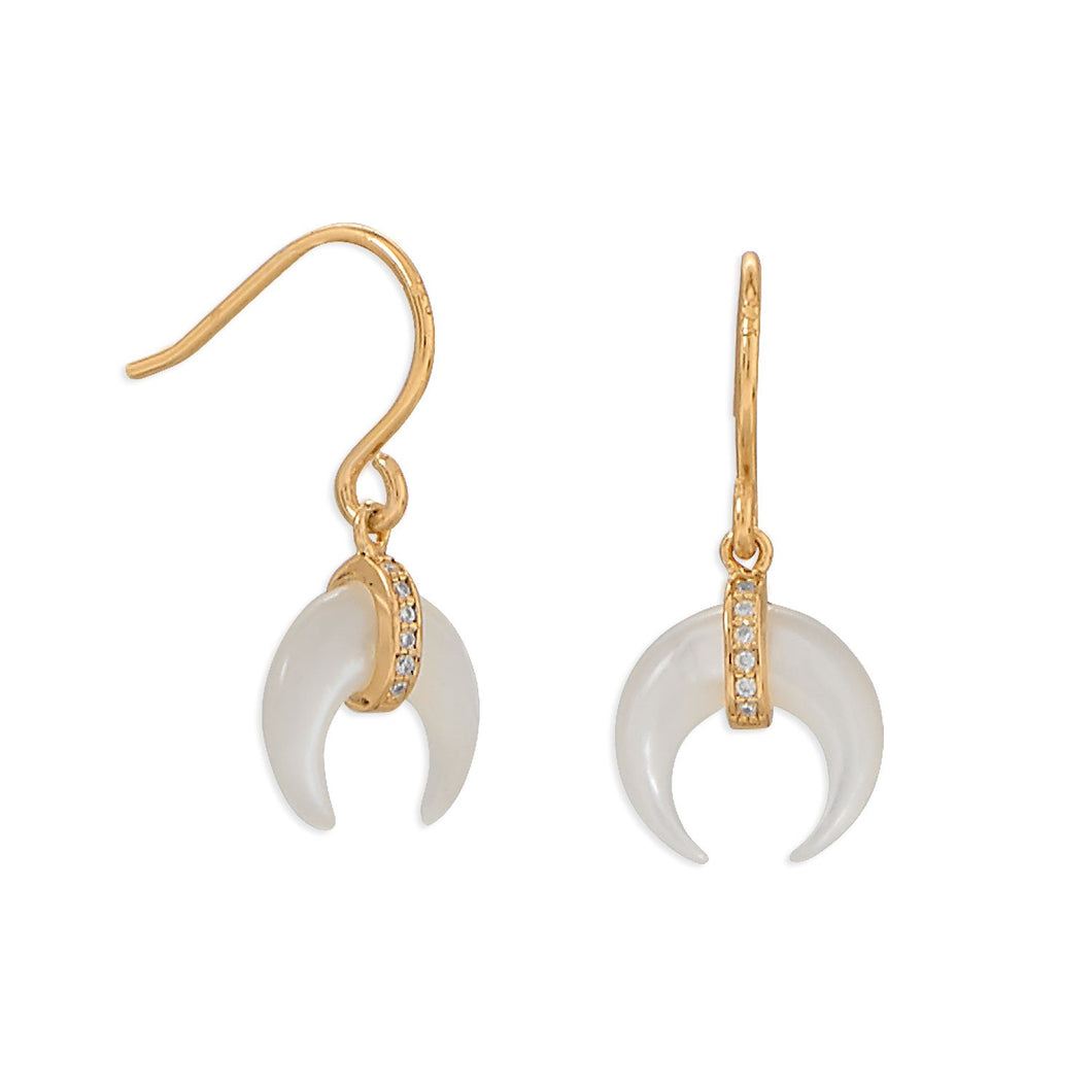 Mother of Pearl and CZ Crescent Gold Plate Earrings