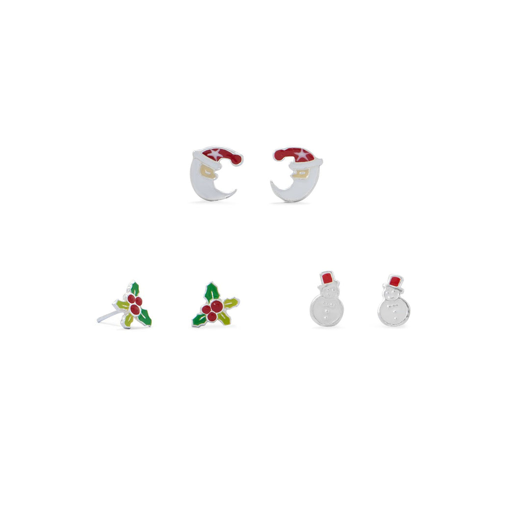 Santa, Holly and Snowman Earring Set