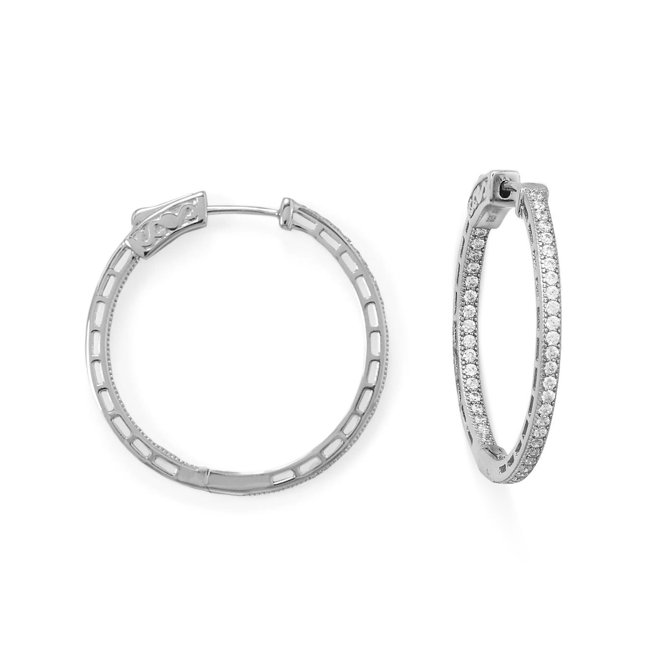 Rhodium Plated Round In/Out CZ Hoop Earrings at 3 Barn Swallows, $100