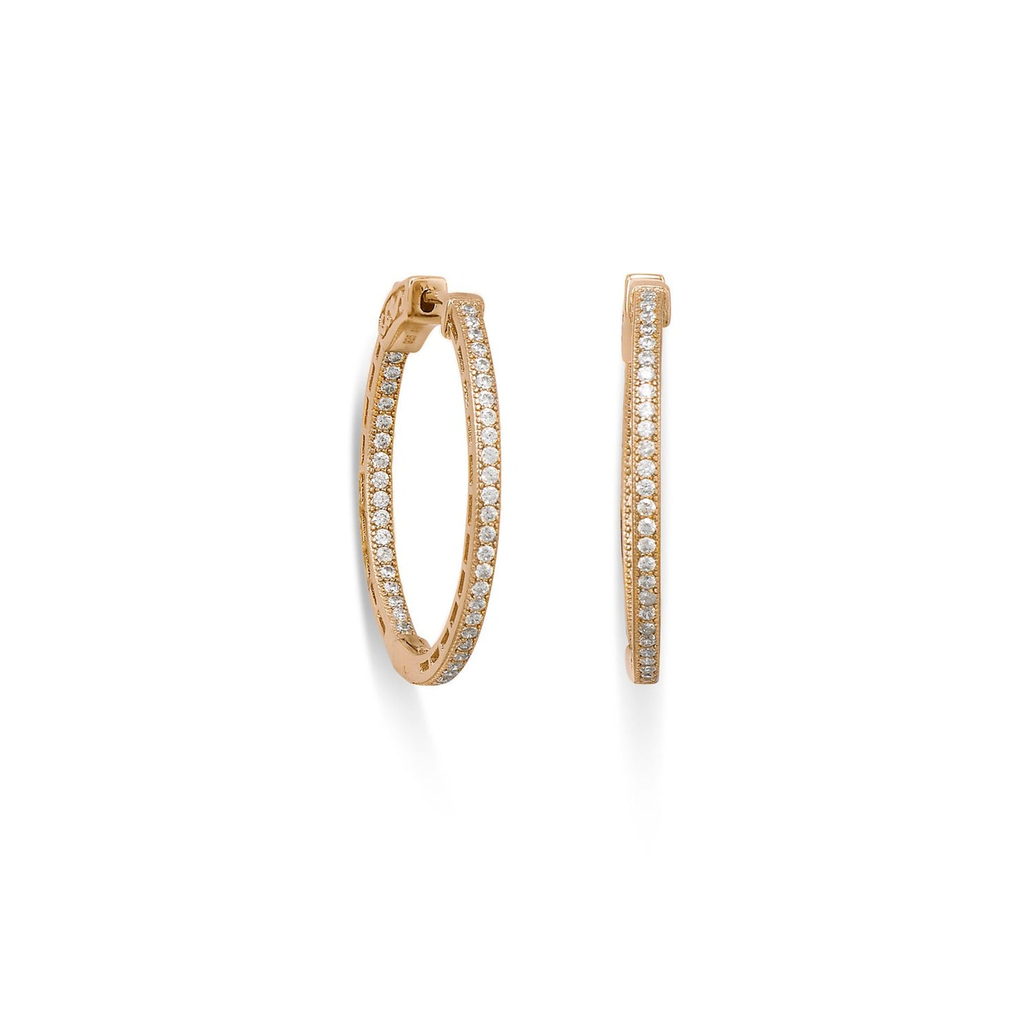 14 Karat Gold Plated Round In/Out CZ Hoop Earrings at 3 Barn Swallows, $100
