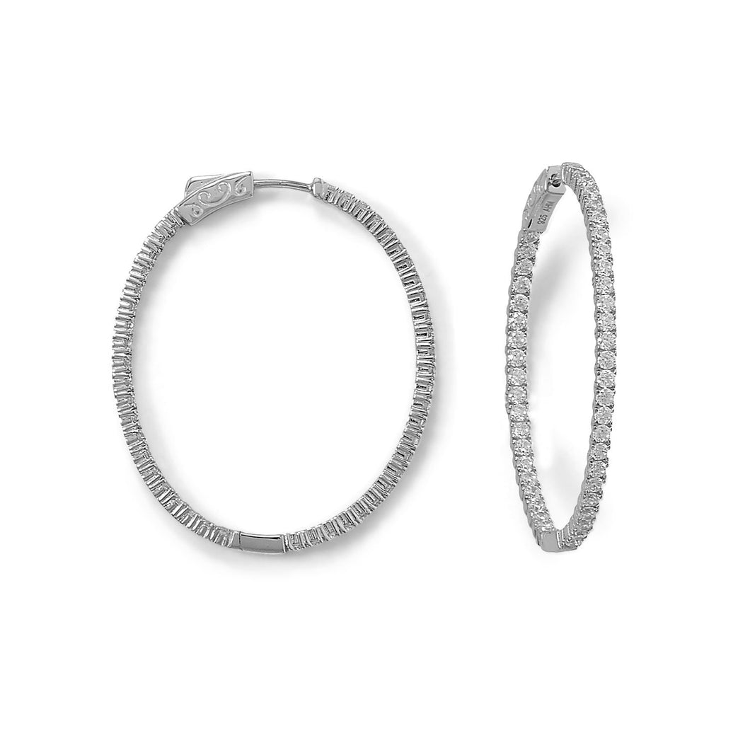 Rhodium Plated Oval In/Out CZ Hoop Earrings