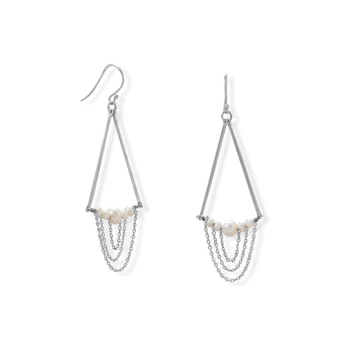 Not Your Mother's Pearls! Cultured Freshwater Pearl and Bar Chain Drop Earring