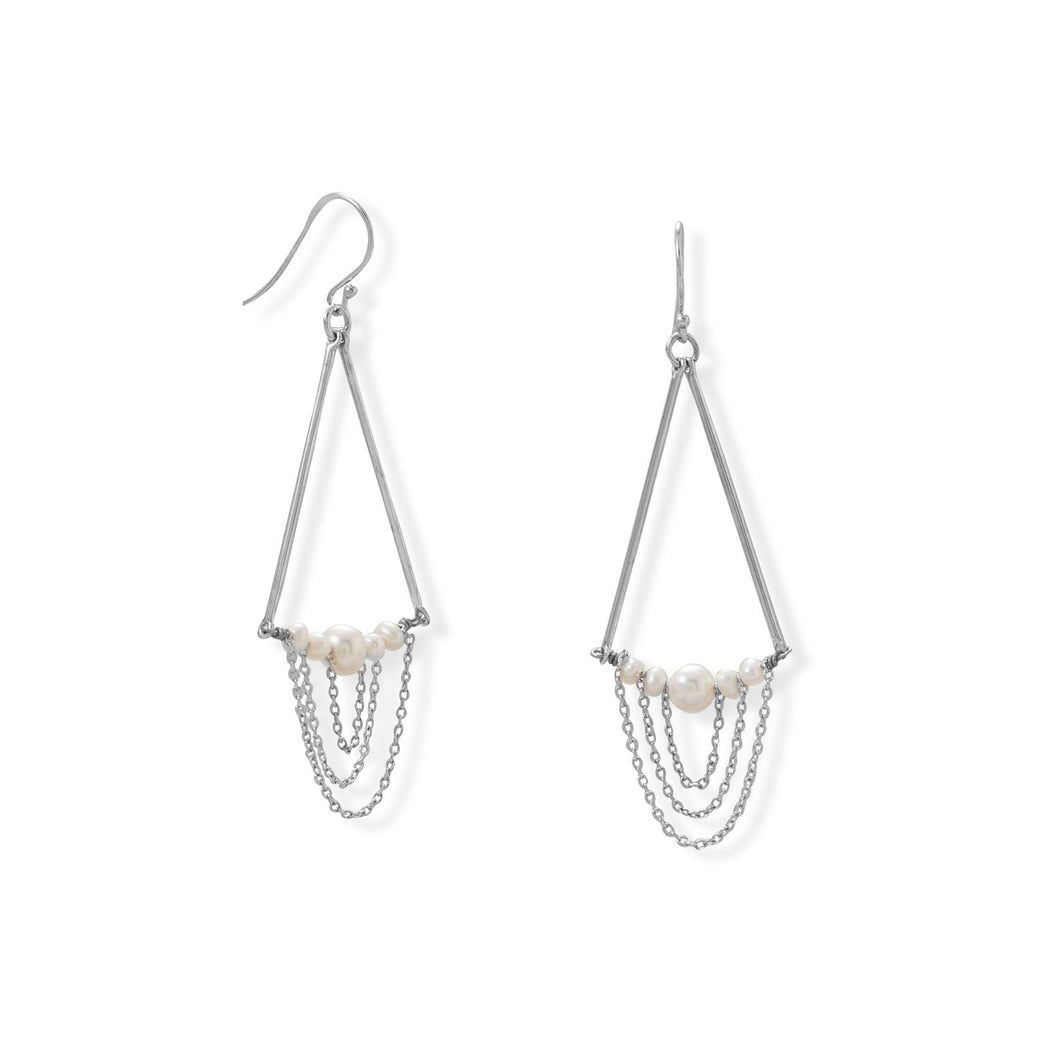 Cultured Freshwater Pearl and Bar Chain Drop Earring at 3 Barn Swallows, $59